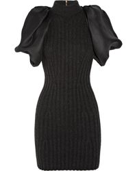 Lanvin | Gray Ribbed Wool-blend and Silk-gazar Dress | Lyst