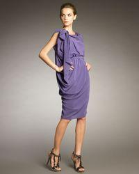 Lanvin - Purple Draped Half-belt Dress - Lyst