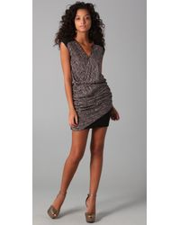 The Addison Story | Gray V-neck Dress with Ruched Skirt | Lyst