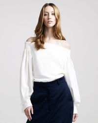 The Row - Natural Off-shoulder Blouse - Lyst