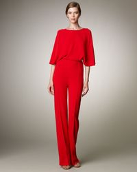 Valentino | Red Cross-back Cady Jumpsuit | Lyst