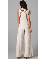 Zimmermann - Natural Calm Jumpsuit with Leather Trim - Lyst