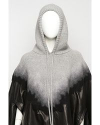 Alexander Wang - Black Knit Leather Hooded Poncho - Lyst