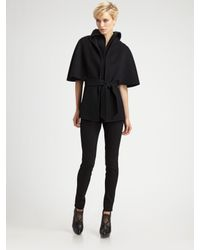 Elie Tahari | Black Wool Cape Jacket | Lyst