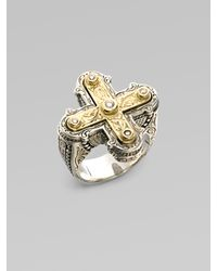 Konstantino | Metallic Sterling Silver & 18k Gold Diamond Cross Ring | Lyst