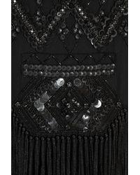 Anna Sui - Black Embellished Silk-georgette Dress - Lyst