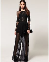 ASOS Collection | Black Asos Premium Lace and Mesh Jumpsuit | Lyst
