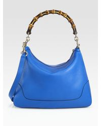 Gucci | Blue Diana Bamboo Medium Tote and Shoulder Bag | Lyst