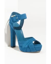 Gucci | Blue Jamie Suede Chunky Platform Sandal | Lyst