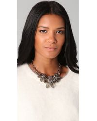 Kenneth Jay Lane - Black Diamond Flower Necklace - Lyst