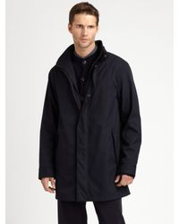 Armani | Blue Microfiber Car Coat for Men | Lyst
