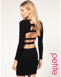 ASOS Collection - Black Bodycon Dress with Slash Back and Long Sleeves - Lyst