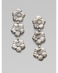 Buccellati   Metallic Blossom Sterling Silver Triple Drop Earrings   Lyst