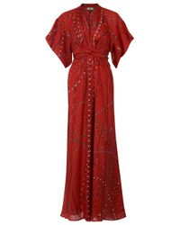 Issa | Long Kimono Dance Red Dress | Lyst