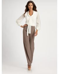St. John | Brown Stretch Wool Wide Leg Diana Pants | Lyst