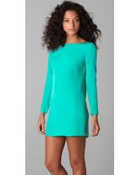Tibi | Green Long Sleeve Shift Dress | Lyst
