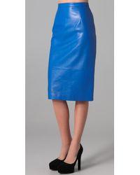 Tibi | Blue Leather Pencil Skirt | Lyst