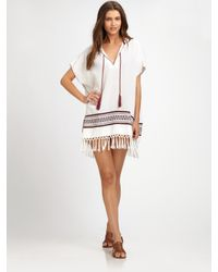 Tory Burch - White Cotton Hooded Beach Poncho - Lyst