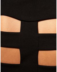 ASOS Collection - Black Asos Mini Dress with Cage Back - Lyst