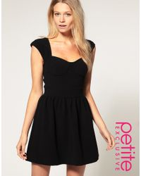 ASOS Collection - Asos Petite Exclusive Alexa Fit and Flare Black Dress - Lyst