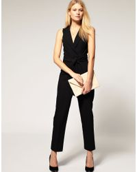 ASOS Collection - Black Asos Petite Exclusive Tuxedo Jumpsuit with Open Back - Lyst
