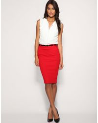 ASOS Collection | Asos Tailored Belted Ponti Pencil Skirt | Lyst