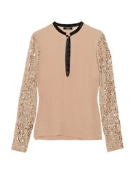 By Malene Birger | Pink Dorothe Sequined Crepe Blouse | Lyst