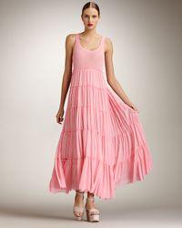 Jean Paul Gaultier   Pink Tiered Maxi Dress   Lyst
