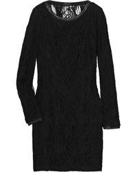 Rag & Bone - Black Shelia Leathertrimmed Lace Dress - Lyst