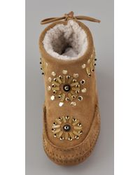 Tory Burch - Natural Zuzu Shearling-lined Suede Ankle Boots - Lyst