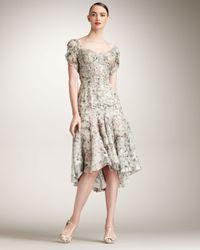 Zac Posen | Gray Floral-print Silk Dress | Lyst