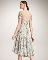 Zac Posen - Gray Floral-print Silk Dress - Lyst