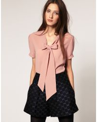 ASOS Collection - Pink Asos Pussybow Short Sleeve Blouse - Lyst