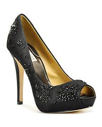 Badgley Mischka | Black Beaded Lace Open Toe Pump | Lyst