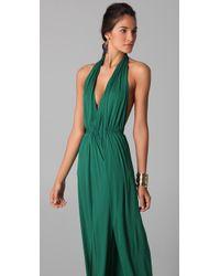 Issa   Green Long Halter Dress   Lyst