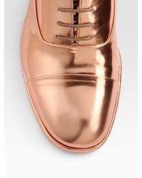 Maison Margiela   Gold Lace-up Metallic Leather Oxfords   Lyst