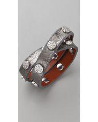 Tory Burch   Silver Double Wrap Logo Bracelet   Lyst