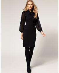 ASOS Collection | Asos Petite Exclusive 40s Tailored Dress with Chiffon Sleeve and Pussybow | Lyst