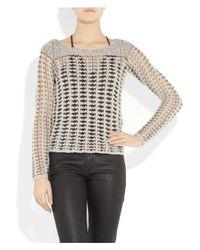 Duffy | Gray Metallic-trimmed Open-knit Sweater | Lyst