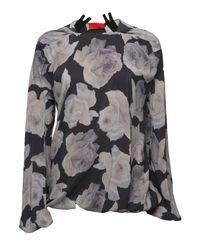 Lanvin | Multicolor Rose Print Zip Back Blouse | Lyst