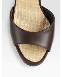 Manolo Blahnik - Brown Straw Tweed and Leather Sculpted-wedge Sandals - Lyst