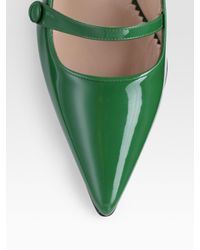 Manolo Blahnik - Green Patent Leather Point Toe Mary Jane Pumps - Lyst