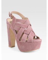 Pour La Victoire | Pink Glenna Woven Suede Platform Sandals | Lyst