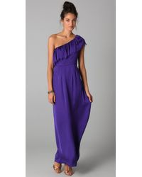 Rebecca Taylor | Purple Eyelash One Shoulder Gown | Lyst