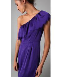 Rebecca Taylor - Purple Eyelash One Shoulder Gown - Lyst