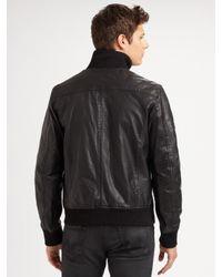 Scotch & Soda - Black Leather Bomber Jacket for Men - Lyst