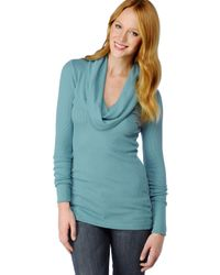 Splendid | Blue Thermal Cowl Neck Tunic | Lyst