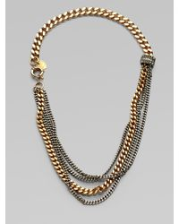 Giles & Brother | Metallic Multi-row Two-tone Chain Link Necklace | Lyst