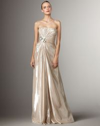 Pamella Roland | Gold Applique Lame Gown | Lyst
