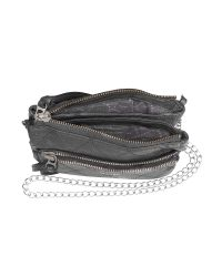 Zadig & Voltaire - Gray Black Leather Shoulder Bag - Lyst